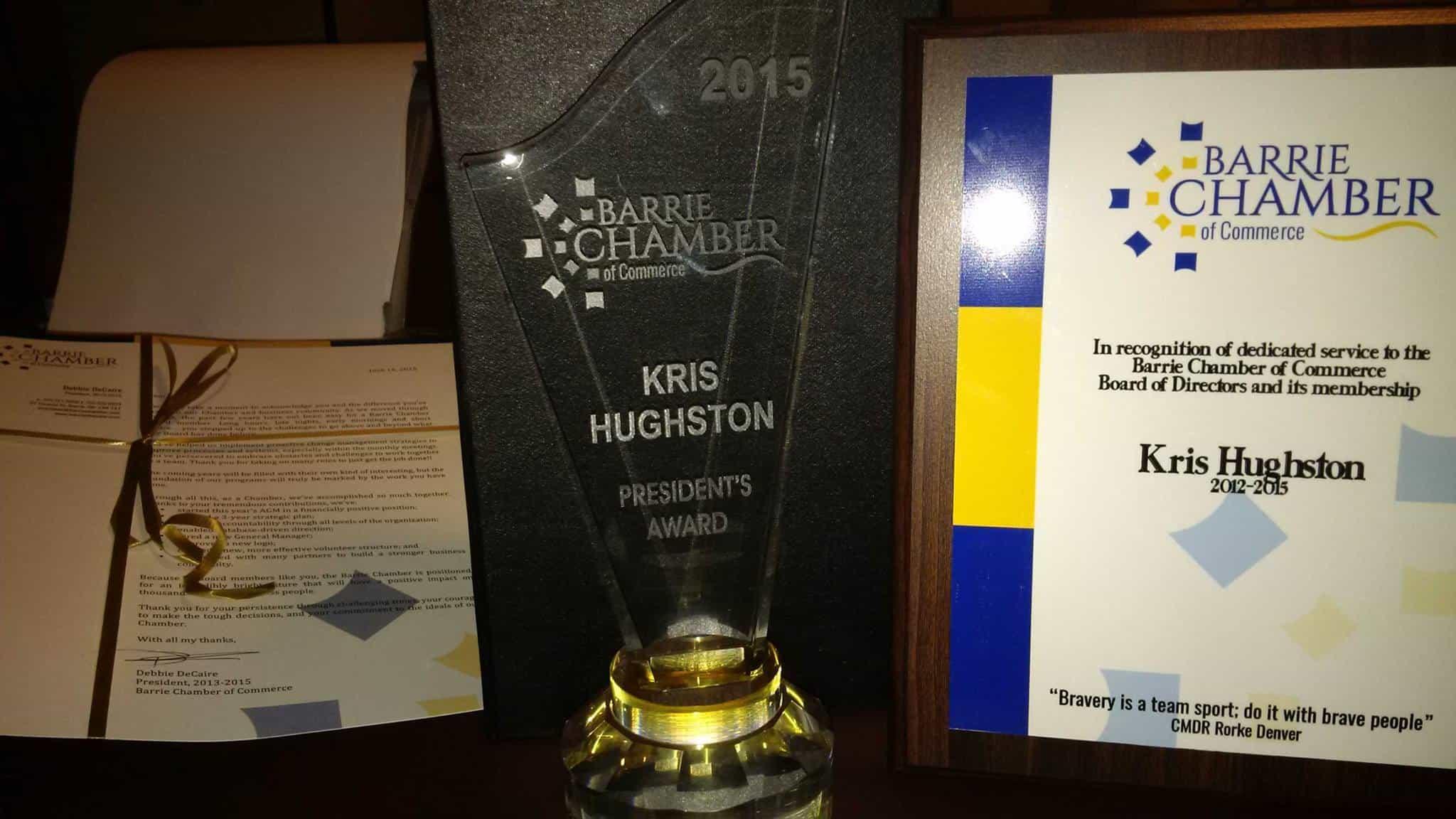 President's Award, Barrie Chamber of Commerce
